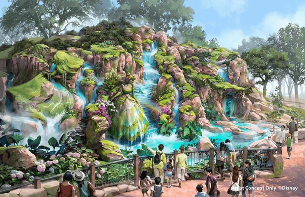 ディズニーシーの新エリア『ファンタジースプリングス』のイメージイラストにオーロラ姫とフィリップ王子、シンデレラ、魔法の鏡がいる