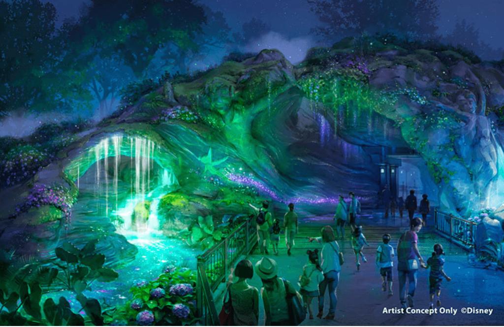 ディズニーシーの新エリア『ファンタジースプリングス』のイメージイラストにピーターパンとティンカーベルがいる