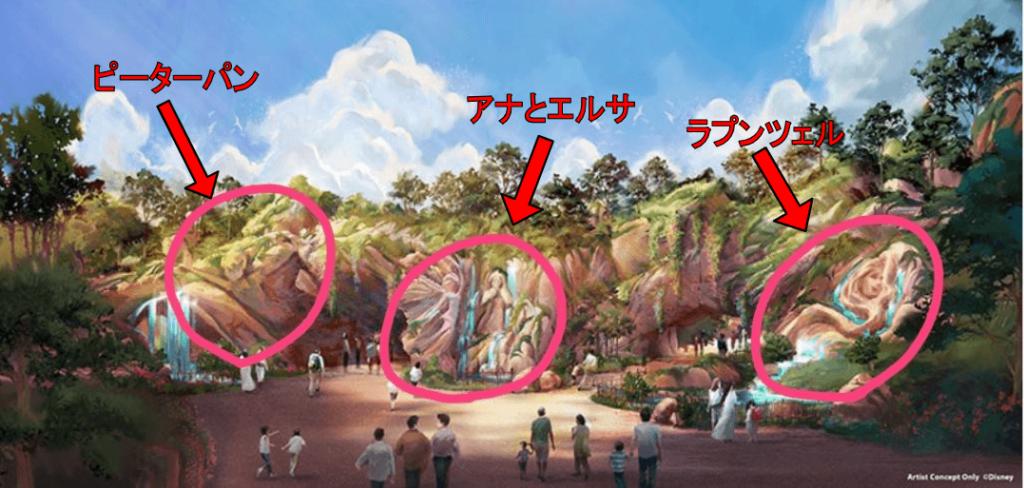 ディズニーシーの新エリア『ファンタジースプリングス』のイメージイラストにピーターパン、アナとエルサ、ラプンツェルがいる