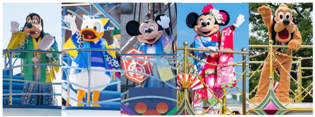 2021年お正月ディズニー!グリーティングパレードとハーバーグリーティングで和服ミッキー達が登場